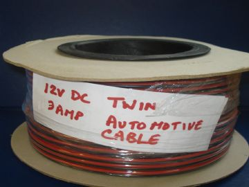 TWIN CORE 3 AMP AUTO CABLE IN  5, 10 Mts RED/BLACK FIG OF 8